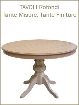 Categoria tavoli da pranzo rotondi da 90 a 120 cm di diametro, allungabili o fissi, con 4 gambe o gamba unica, bicolore, tinta legno o laccati