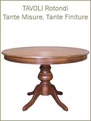 tavoli, tavoli rotondi, tavoli tondi per la sala da pranzo, tavoli da pranzo, tavoli classici in legno allungabili