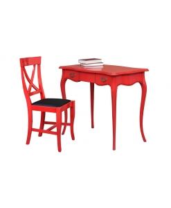scrittoio, scrittoio rosso, scrittoio con sedia, scrittoio in legno