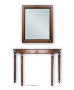 composizione per ingresso, console e specchio, arredo ingresso, arredo soggiorno, console in stile, mobile in stile, console in legno, specchio
