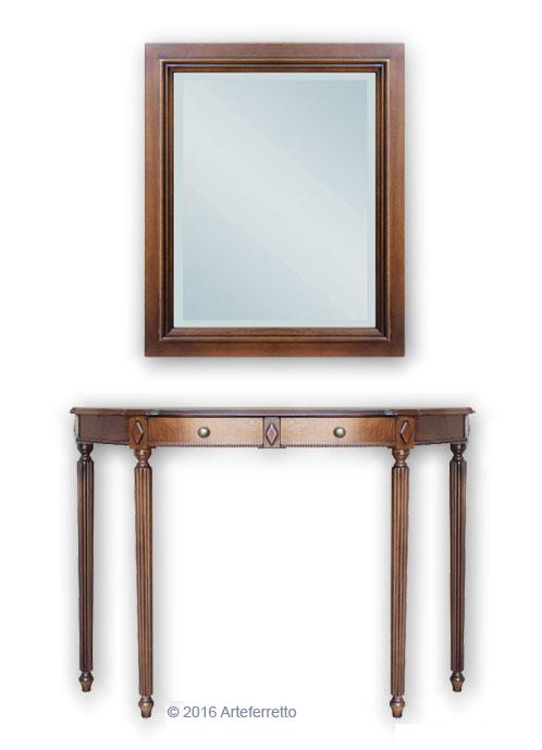 Composizione per ingresso consolle e specchio arteferretto - Specchio antichizzato ...
