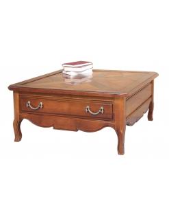 Tavolino quadrato da caffè in legno massello