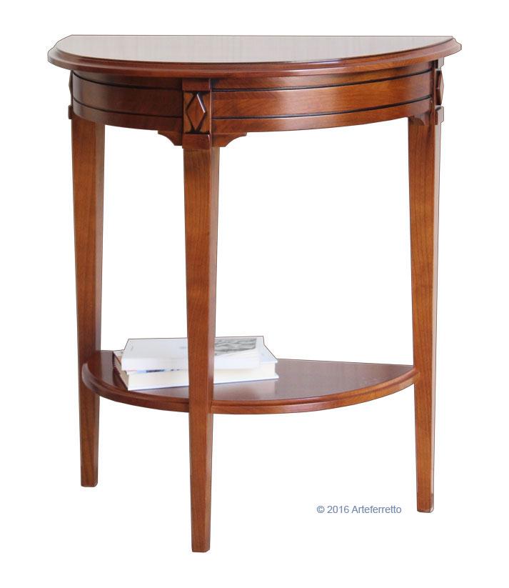 Tavolino consolle mezzaluna in legno classica ciliegio for Mobile per console