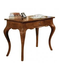 Scrittoio classico sagomato con cassetto in legno massello