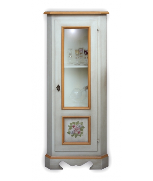 Mobiletto ad angolo decorato con vetrinetta arteferretto - Mobiletto ad angolo ...
