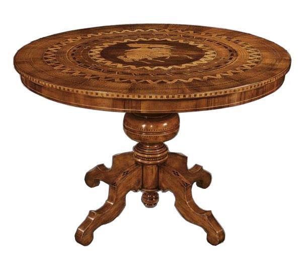 Tavolo rotondo piano intarsiato tavolo sala da pranzo for Tavolo rotondo 120 cm