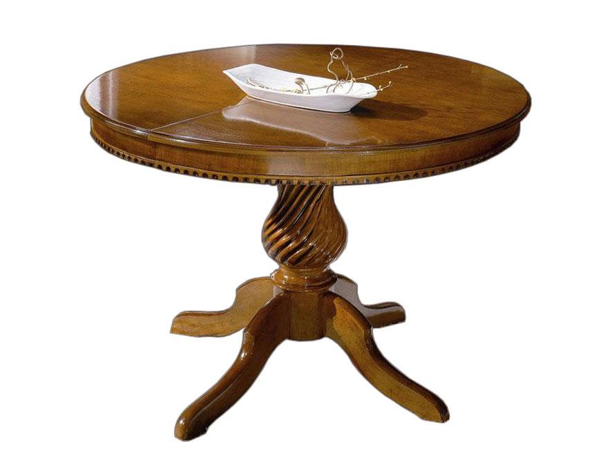Tavolo rotondo allungabile in legno massello di faggio, tavolo sala da pranzo