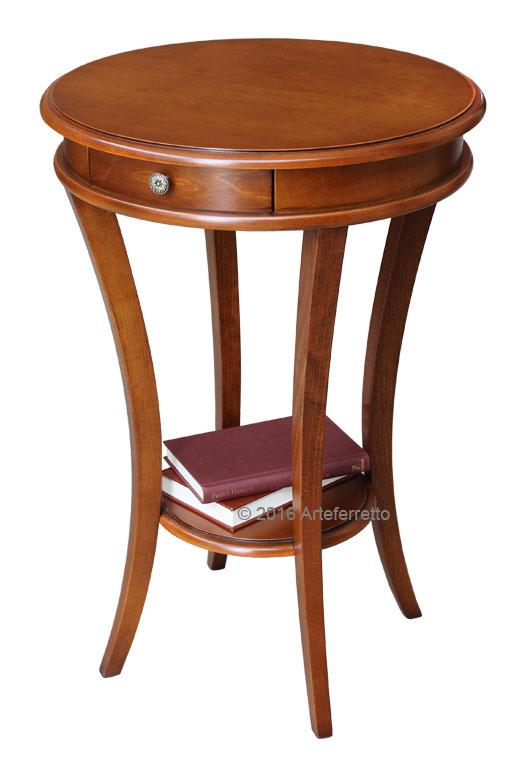 Tavolino rotondo in legno tavolino classico per soggiorno for Mobiletto per salotto