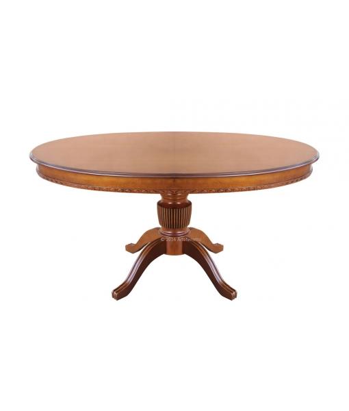 Tavolo ovale allungabile per sala da pranzo, con gambone centrale e allunga a scomparsa, art. ER-228