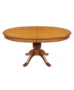 Tavolo ovale allungabile per sala da pranzo, con gambone centrale e allunga a scomparsa, Arteferretto