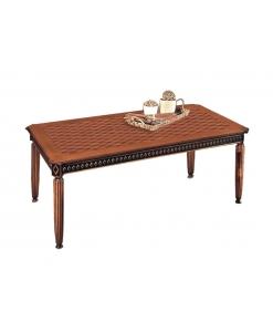 tavolo intarsiato da sala da pranzo classico, tavolo bicolore in legno