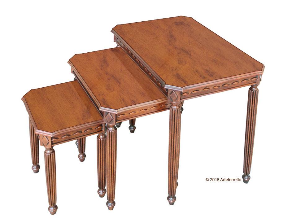 tris di tavolini per salotto tris tavolini in legno