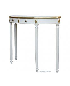 consolle classica da salotto in legno laccato bianco con foglia oro