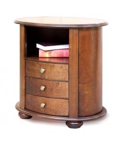 comodino ovale, comodino in legno, comodino per camera da letto