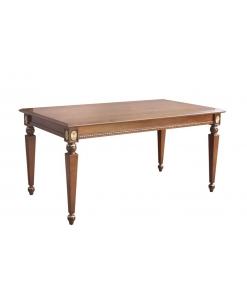Tavolo fisso in legno intarsiato con preziosi intagli dorati