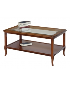 tavolino legno piano cristallo