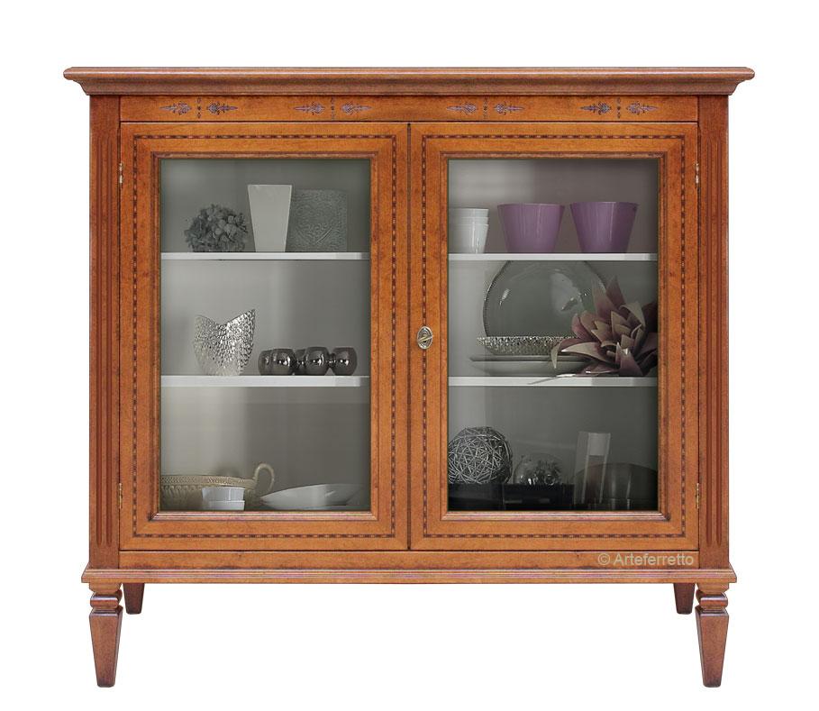 Vetrina bassa in legno massello con intarsi, mobiletto vetrina per ...