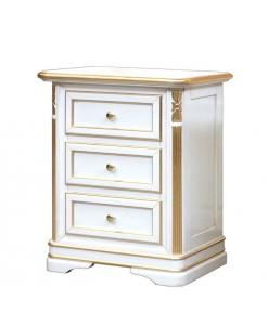 Comodino classico bianco don foglia oro, camera da letto