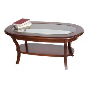 Tavolino ovale con vetro e ripiano