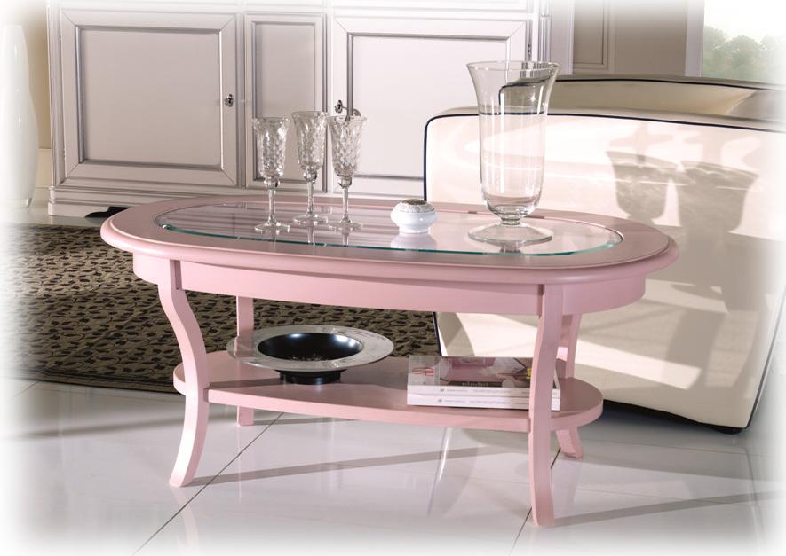 Tavolino ovale da salotto mobile rosa tavolino piano in for Tavolino da salotto in cristallo