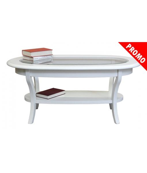tavolino ovale laccato con piano in vetro Art. F33-T-promo