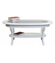 tavolino ovale laccato con piano in vetro