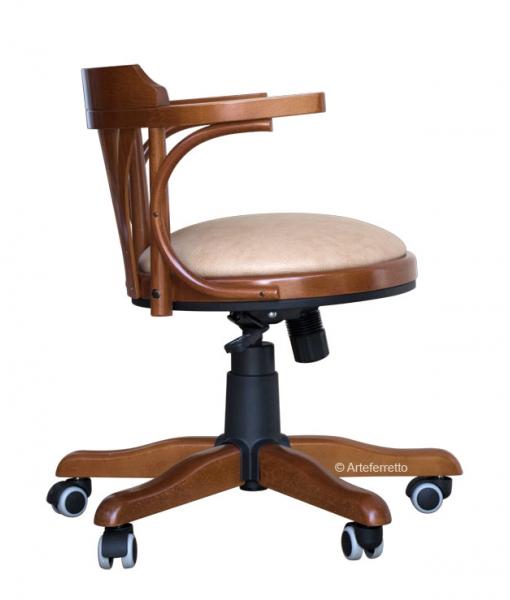 Sedia girevole in legno da ufficio con imbottitura, Arteferretto