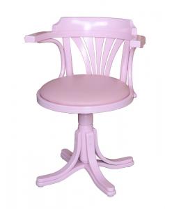 Poltroncina girevole rosa con seduta in ecopelle rosa