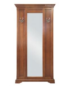 Pannello appendiabiti a muro con 2 ganci e grande specchio