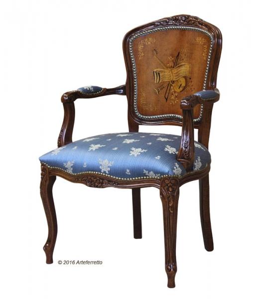 Poltroncina parisienne schienale intarsiato imbottita arredo salotto in stile classico. Cod. GM-436