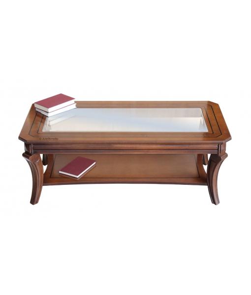 tavolino rettangolareda salotto con piano in vetro e legno intarsiato, robusto e resistente, Art. MIT-01