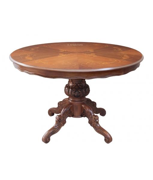 Tavolo intarsiato rotondo diametro 120 cm arteferretto for Tavolo rotondo 120 cm