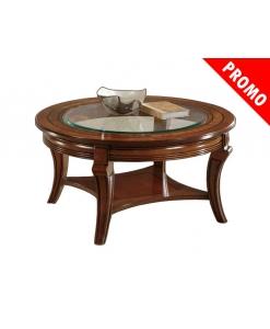 Tavolino rotondo da salotto con piano in vetro e intarsio sul legno