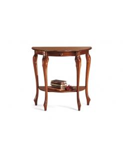piccola consolle sagomata in legno, consolle per ingresso, solido legno, consolle elegante, piccolo mobile consolle, mobile d'ingresso