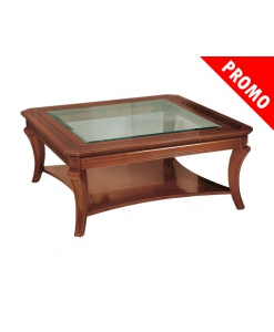 Tavolino quadrato intarsio piano cristallo