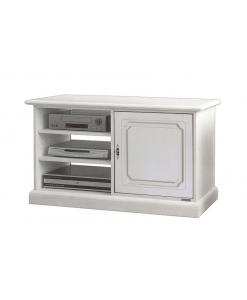 porta tv, Porta tv compatto e spazioso laccato bianco