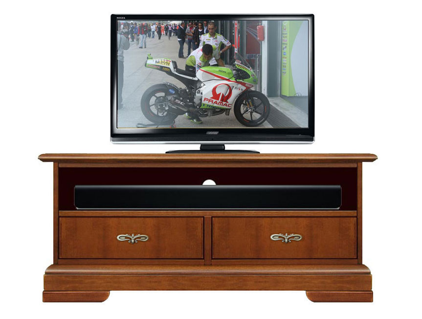 Mobile tv con vano soundbar mobiletto porta tv in legno massello con cassetti ebay - Mobiletto porta tv ...