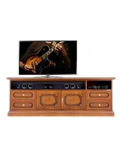 Mobile tv in legno con ante e cassetti