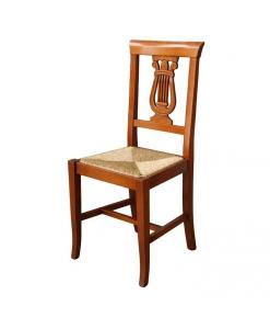 sedia tradizionale, sedia, sedia in legno, sedia con intaglio, fondo in paglia