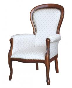 poltrona in stile, poltrona classica, stile Luigi Filippo, poltrona imbottita, legno di faggio