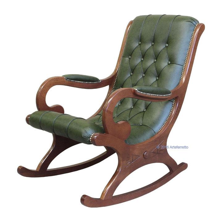 Poltrona a dondolo in legno con vera pelle sedia poltrona for Sedia a dondolo in pelle