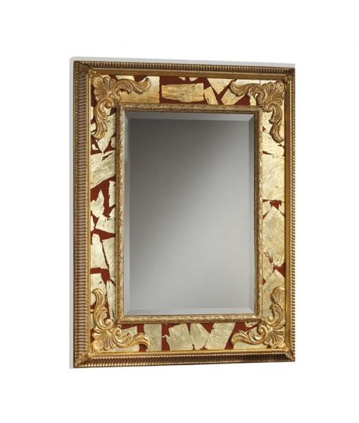 Specchiera rettangolare da salotto / soggiorno rosso / oro, Art. red-gold