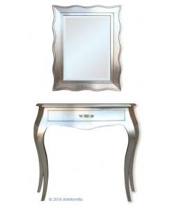 Composizione ingresso consolle con cassetto + specchio, in foglia argento