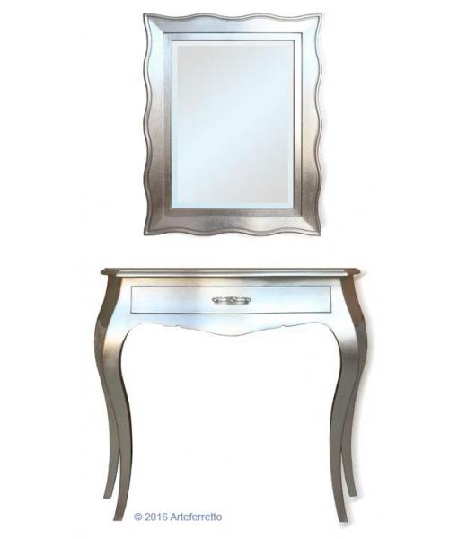 Composizione ingresso consolle con cassetto + specchio, in foglia argento, Art. silver-light