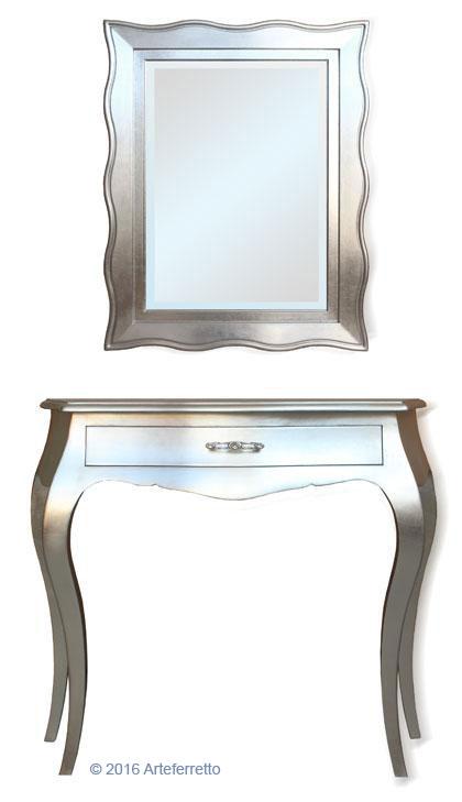 Composizione ingresso consolle foglia argento lucido