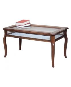 tavolino rettangolare a bacheca in legno