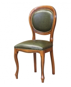Sedia in pelle classica, per la sala da pranzo, Arteferretto