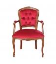 Poltroncina da salotto parisienne stile classico in legno tappezzata di velluto rosso made in Italy