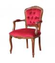 Poltroncina classica in velluto rosso capitonné, stile classico parisienne
