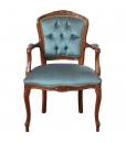 Poltrona parisienne con braccioli capotavola per il salotto, velluto azzurro capitonné